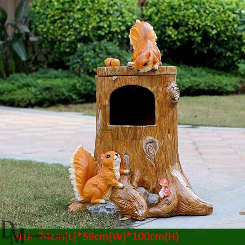 resin trash can garden statues cheap ornaments dm display. Black Bedroom Furniture Sets. Home Design Ideas