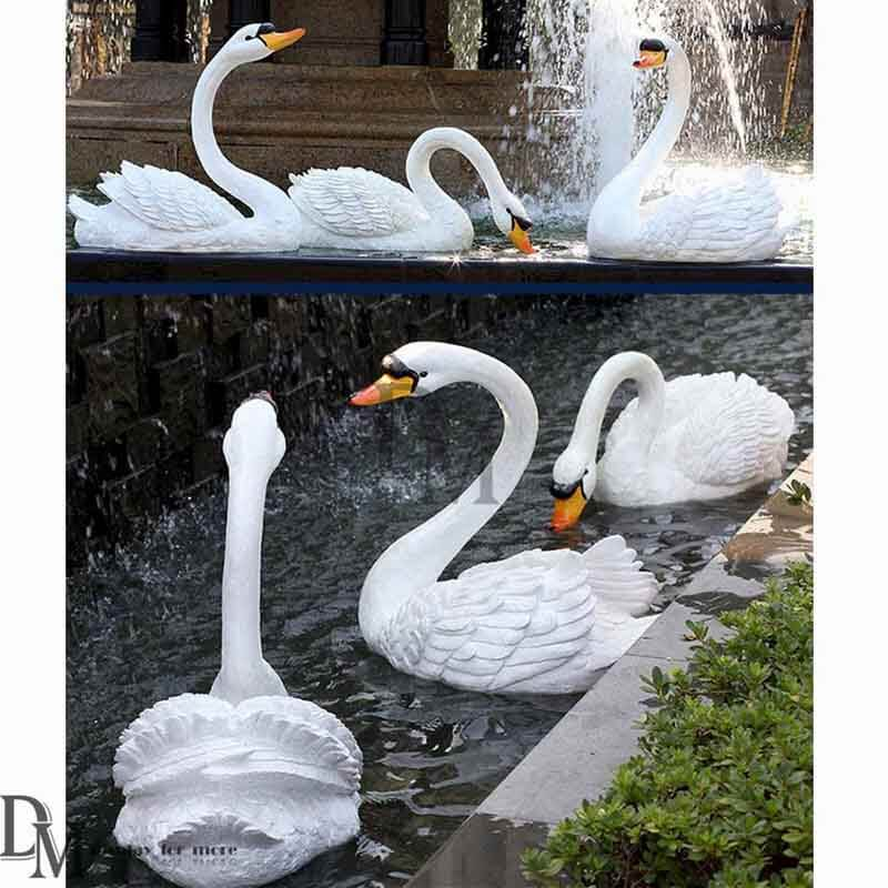 Life Size Resin White Swan Statue Whole Garden Animal Statues