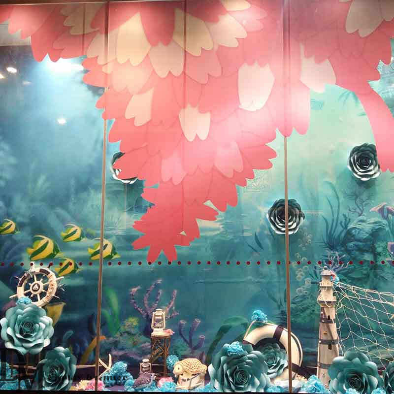 Craft giant paper flowers for spring window display dm colorful giant paper flowers for mall shop window display spring window display ideas mightylinksfo